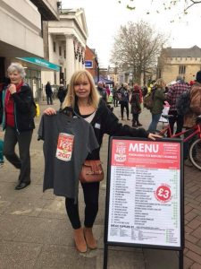 Sue from Watton Recruitment promoting SoupFest Bedford