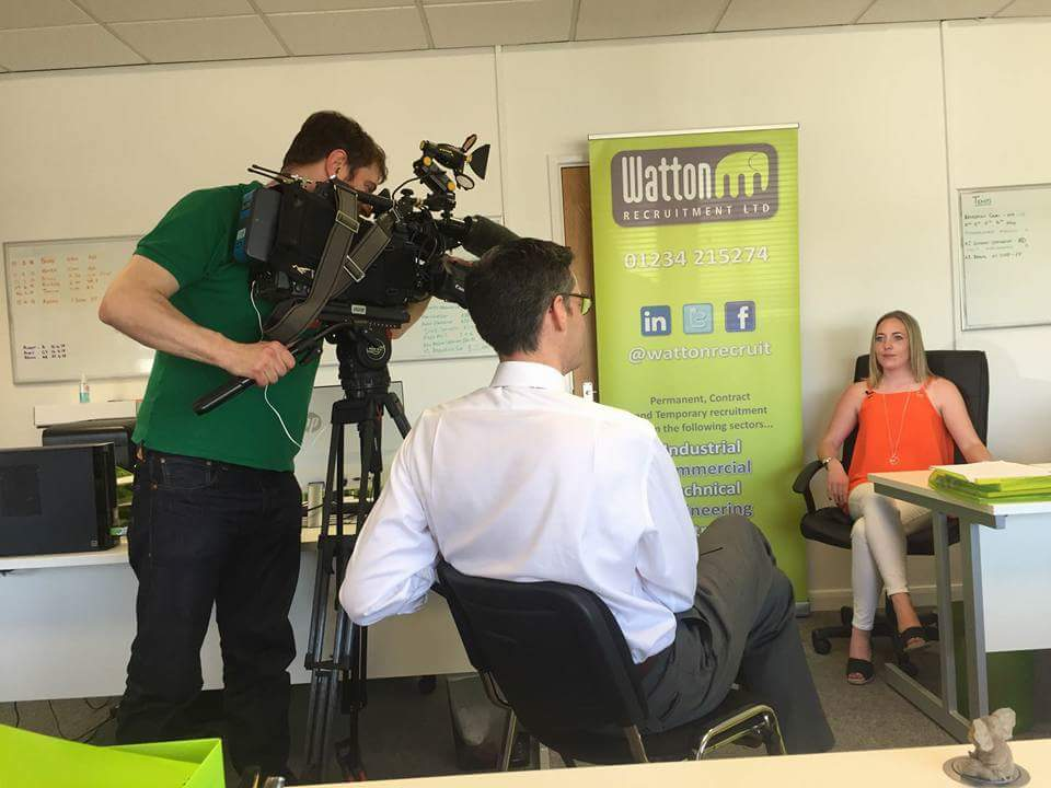 Philomena speaking to BBC Look East from Watton Recruitment's offices in Bedford
