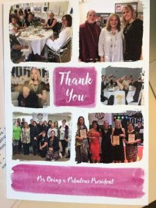 Thank you card from Bedfordshire BusinessWomen to Philomena for her work as President