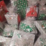 Piles of wrapped Christmas presents