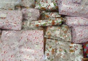 Presents wrapped and ready for delivery to shelters across Bedfordshire
